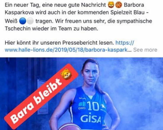 Barbora Kasparkova has re-signed with SV GISA Halle Lions