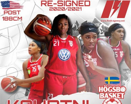 Kourtni Perry has re-signed with Hogsbo Basket