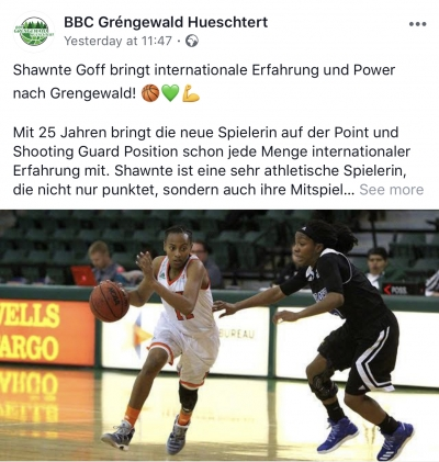 Shawnte Goff has signed with the team of BBC Grengewald